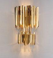 Moderna LED de parede de cristal lâmpada de ouro luz ouro aço inoxidável parede SCONCE AC90-260V pendurado decoração de casa lâmpada de cristal llfa