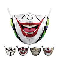 Fashion Designer Face Masks Halloween Digital Stampa Maschere Uomo Masquerade Party Joker Maschera Face Maschera Lavabile Riutilizzabile Prova antipolvere Maschere 8 Stile Ins