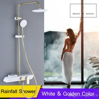 Golden White Bath Shower Mixer Faucet Rainfall Bathroom Show...