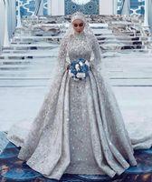 Suudi Arapça A-Line Yüksek Boyun Müslüman Gelinlik Sparkly Uzun Kollu Payetli Kristal Boncuklu Artı Boyutu Gelin Kıyafeti
