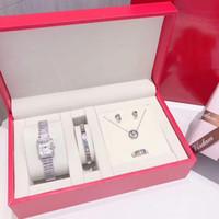 Mulheres de moda com conjuntos incluem relógio presente vestido brinco anel pulseira namorados feminino senhoras para relógios caixa 5 diamante colar ricuq
