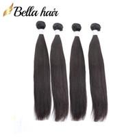 100%モンゴルストレートヘア緯糸の人間の髪の伸び4本/ロットレミーバージンヘアバンドル自然なColorbellahair