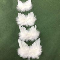 공예품 10 팩을위한 엔젤 깃털 날개 흰색 미니 천사 날개, DIY 파티 선물 장식 아동 사진