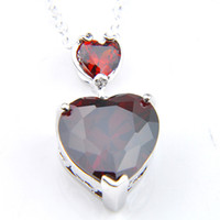 Gemstone del granato del granato del granato di lusso del cuore del cuore del cuore di Luckyshien 925 gioielli del pendente di zirconi delle donne con la catena di trasporto con la catena