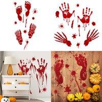 Cadılar bayramı Kan Handprint Duvar Çıkartmaları Korku Kanlı Parmak Izi Duvar Çıkartmaları Su Geçirmez Zemin Kapı Cadılar Bayramı Partisi Dekorasyon