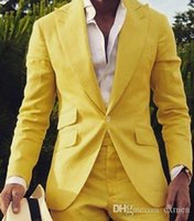 Wide Peaked Lapel Custom Made Yellow Men Suits Wedding Suits...