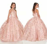 2021 Bling Rose Gold Mini Quinceanera Pageant Dresses For Little Girls Glitter Tulle Jewel Rhinestones Beaded Party Dress Toddler Flowers