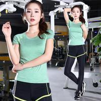 Yoga ropa de dos piezas del verano femenino Stretch Slim Fit de manga corta Ejecución de deportes al aire libre ropa de la aptitud Mujer