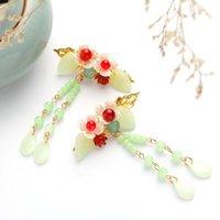 Vintage Luksusowy Kwiat Kwiat Zestaw Koreański Biżuteria Akcesoria Wróżka Sukienka Długie Tassels Kobiety Akcesoria do nakrycia głowy