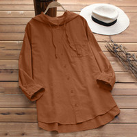 Women Casual Simple Blouse Loose Linen Hooded Soild Color Bu...