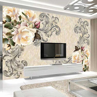 Drop Shipping Custom Photo Mural Wallpaper 3D Marble Flower ...