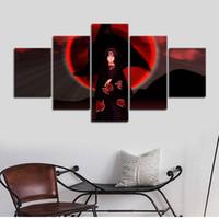 5 adet / takım Çerçevesiz Naruto Ninja Itachi Kırmızı Göz HD Oturma Odası Dekor Için Tuval Duvar Sanatı Resim Üzerine Baskı