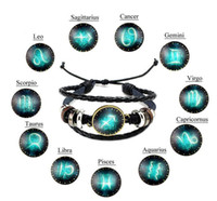 Nouveau design de mode Bijoux Douze Constellations Bracelets en cuir rétro perles tissées à la main bricolage bracelet pour les femmes Zodiac hommes cadeaux