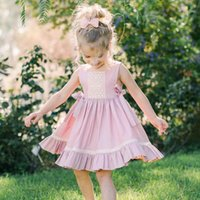 Principessa Infant Girls Pink Lace Lace Vest Dress New Western Fashion Ruffles Party Abiti per bambini
