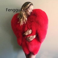 Stylish 3D Red Heart Shaped Cape Faux Fur Thick Warm Celebri...