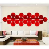 12 pcs definir Wall Mirror Etiqueta 3D Hexagon vinil removível Wall Sticker Decal Home Decor Art DIY para quartos de crianças decoração Home