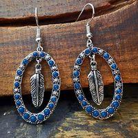 Reifen Huggie Frauen Retro Individuum Bunte Stein Geometrische Farbzubehör Ohrringe Federform Enthänisch Blau Edelsteinkreis