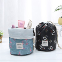 2019 new color large capacity cylindrical cosmetic bag multi...