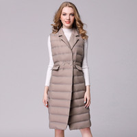 New Longo Vest Mulheres White Duck Down Vest Ultra jaqueta leve para baixo Inverno mangas Magro Colete