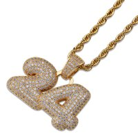 Letter 24 Pendant Necklace Ice Out Gold Silver Jewelry Men H...
