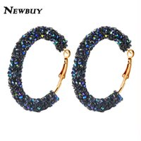NEWBUY 2018 Classic Design Fashion Charm Austrian Crystal Hoop Earrings Geometric Round Shiny Rhinestone Female Earring Jewelry