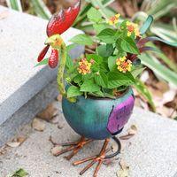 미니 금속 화분 창조적 인 수탉 꽃 냄비 홈 장식 선물 여러 가지 빛깔의 정원 냄비 아트 장식 사무실 바탕 화면 조각 공예품