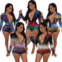 Frauen sexy Pailletten Overall Mini Shorts Spielanzug V-Ausschnitt Body Nachtclub Kleidung Mode bodycon ein Stück einer freies Verschiffen 2184
