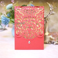 Cordial Wedding Invites, Red Shimmer Laser Cut Sleeve With C...