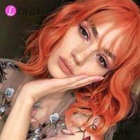 Lihui 12 pollici caschetto corto arancione parrucche con la frangetta per le donne parrucca sintetica ondulata dorata parrucca cosplay