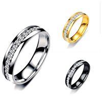 2019 جديد وردة نوع ذهب فضة خاتم حلقة عن النساء الرجال المجوهرات التيتانيوم الصلب الزركون خاتم الخطوبة الذكرى هدية