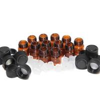 DHL gratuit 1ml 2ml Petit Ambre Verre Bouteille Fioles échantillon avec capuchon noir Réducteur Orifice pour eJuice l'e LIQUIDE Huiles essentielles