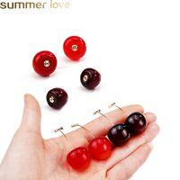 Bonito Simulação Red Cherry Dangle Brincos Hot Sale doce Resina cor do ouro Brinco de alta qualidade para as mulheres menina Fruit Student Forma Jewelry