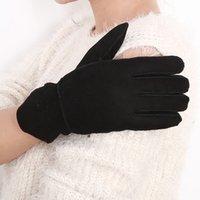 Moda-deri eldiven Kadınlar renk seçenekleriyle çeşitli sıcak yün eldiven