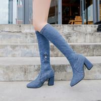 الأحذية النسائية الجديدة أشارت أوروبا كان الدنيم في أنبوب رفيع وسميك مع السوستة الجانبية حجم كبير الأحذية فارس