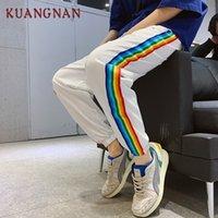 Pantaloni da uomo Kuangnan casual da uomo a strisce colorati pantaloni streetwear joggers fashions xxl hip hop 2021