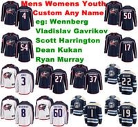 Columbus Blue Jackets Jerseys juventude caçoa Alexander Wennberg Jerse Gavrikov Harrington Kukan Murray Ice Hockey Jerseys Personalizar costurado