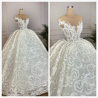 Sheer Neck Vintage 2019 Arabic Wedding Dresses Cap Sleeves B...