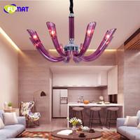 FUMAT 보라색 유리 크리스탈 샹들리에 램프 유럽 스타일 빛 샹들리에와 펜던트 룸 식당 클래식 조명기구