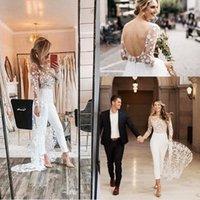 여름 긴 소매 결혼식 웨딩 jumpsuit 기차 2020 백리스 보헤미안 레이스 꽃 웨스턴 국가 웨딩 드레스와 바지 양복
