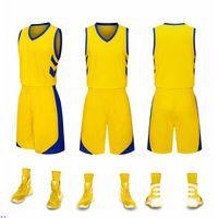 2019 neue leere basketballtrikots gedruckt logo herren größe s-xxl billig preis schnelles verschiffen gute qualität neu gelb ny001n