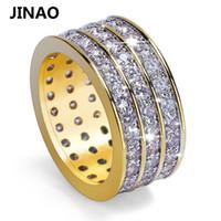 JINAO Hip Hop Kaya Altın Renk Kaplama Yuvarlak Yüzük Serin Tam Buzlu Out Mikro Açacağı CZ Taş Yüzük Erkek Takı Için Hediye D19011502