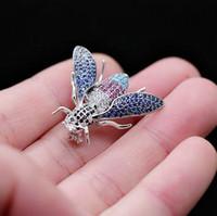 Fashion- 컬러 다이아몬드 미니 귀여운 꿀벌 작은 칼라 바늘 손 마이크로 상감 브로치 야생 정장 재킷 핀 여성 F127