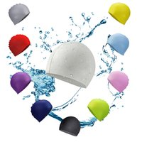 Stretchy pliable silicone swim cap adult swimming head cover...