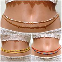 Kadınlar Kolye Göbek Kadınlar Bohemya Çift Boncuk Vücut Zinciri Bel Zinciri Bikini Takı için Moda Yaz Plaj Vücut Takı