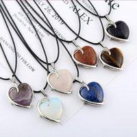 Comerci 10 pc argento placcato cuore di amore della pietra dell'occhio della tigre di collegamento del pendente della collana della catena Lapislazzuli Romantic Style Jewelry