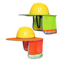 야외 건설 안전 모자 노란색 오렌지 양산 모자 넥 쉴드 반사 스트라이프 보호 헬멧 모자 GGA2566