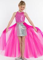 New Gelenler payetli kızları Pageant Elbiseler Kristal Tül Tren mücevher Boyun Fuşya Çiçek Kız Elbise Çocuk Küçük Kız Partisi Abiye
