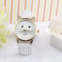 Best Sell Fashion  Diamond Lovely Cats Face Women Watch Creative Leisure Leather Quartz WristWatch Gift Clock Kol Saati #S