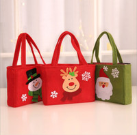 Natale Applique Gift Bag 3 disegni di Natale Renna Candy Bag storage Xmas Party sacchetto di mano 6 Pezzi ePacket