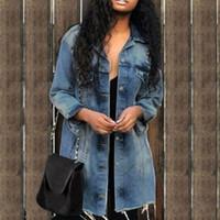 2019 Nouveau bouton de mode Veste Trou Patch Denim Femme Veste de poche en vrac Jeans Femme Ripped Manteau Streetwear